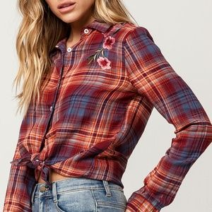 Plaid Cotton Shirt Sunset Hues Embroidered Flowers